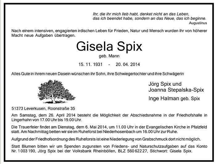 Todesanzeige Gisela Spix