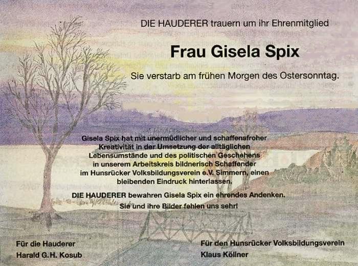 Nachruf Gisela Spix