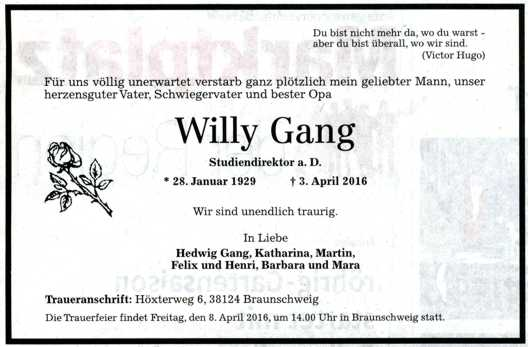 Todesanzeige Willy Gang