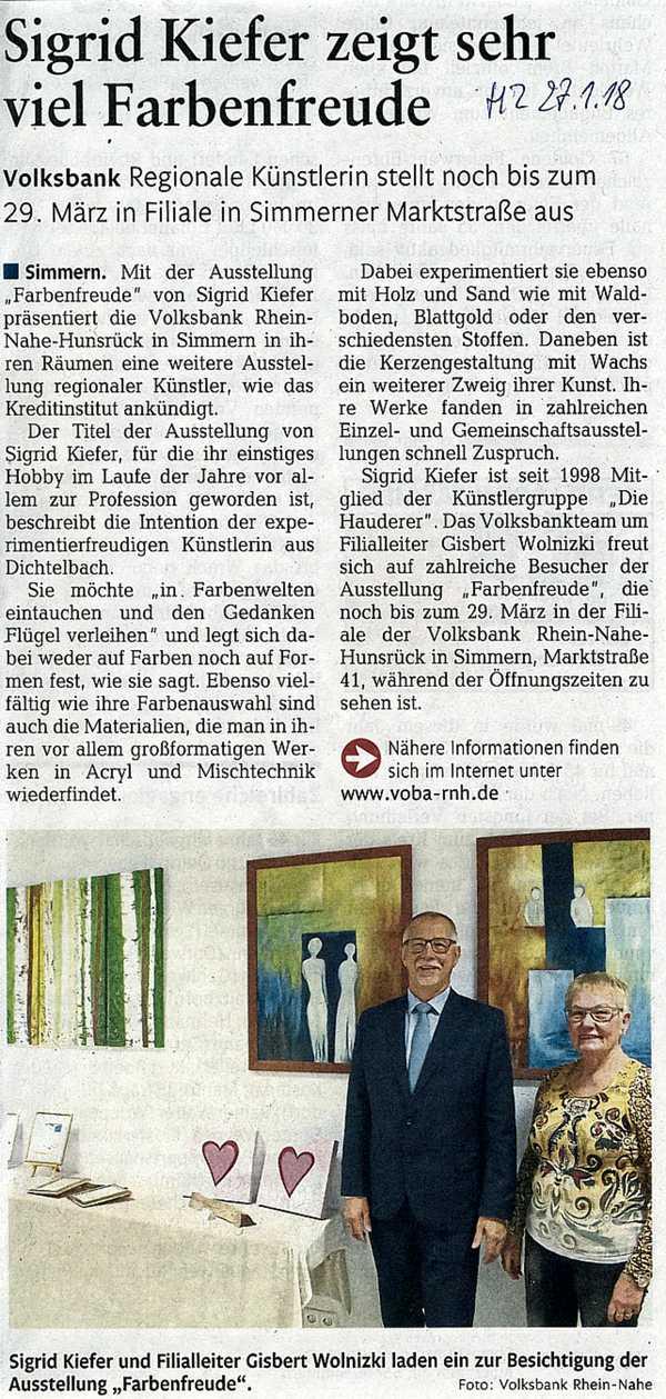 Ausstellung Sigrid Kiefer in Volksbank Simmern